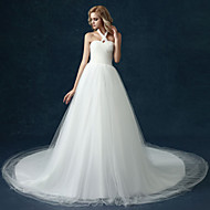 A-line Wedding Dress - White Cathedral Train Halter Tulle