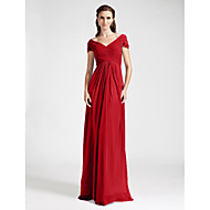 Floor-length Chiffon Bridesmaid Dress Sheath / Column Off-the-shoulder / V-neck Plus Size / Petite with Draping / Criss Cross