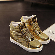 Women's Shoes Patent Leather/Tulle Wedge Heel Comfort Fashion Sneakers Outdoor/Casual Black/Silver/Gold