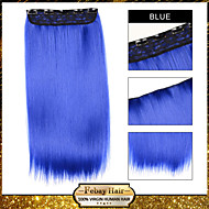 ombre klippet i rett hår forlengelse syntetisk parykk blå