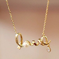 Lucky Doll Women's All Matching Cubic Zirconia LOVE  Necklace