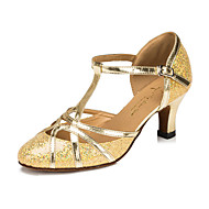 Customizable Women's/Kids' Dance Shoes Latin Leatherette Flared Heel Silver/Gold
