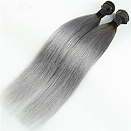 3Pcs/Lot 1B/Grey Ombre Hair Brazilian Straight Ombre Virgin Hair Extensions Two Tone Silver