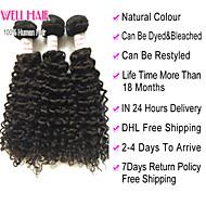 "4Pcs Lot 8""-30"" Peruvian Virgin Hair Deep Wave Natural Black Curly Human Hair Weave Bundles Shed & Tangle Free"