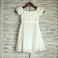 Sheath / Column Knee-length Flower Girl Dress - Chiffon / Satin Short Sleeve Bateau with