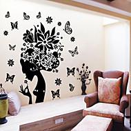여자 꽃 벽 스티커