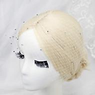 Women's / Flower Girl's Rhinestone / Net Headpiece-Wedding / Special Occasion Birdcage Veils 1 Piece