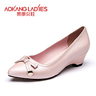 Aokang Women's Shoes Leather Wedge Heel Wedges/Comfort/Pointed Toe/Closed Toe Heels Outdoor/Office & Career/Dress/Casual