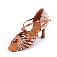 Women's Dance Shoes Latin Satin Flared Heel Black/Brown