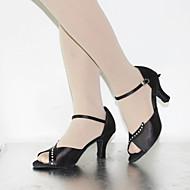 Na zakázku - Dámské - Taneční boty - Latina - Hedvábí / Kůže - Jehlový podpatek - Černá / Čokoládová