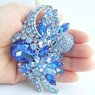 Wedding 3.35 Inch Silver-tone Blue Rhinestone Crystal Flower Brooch Art Deco