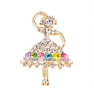 MISSING U  Diamonade  Gold Plated Gemstone & Crystal Zirconia Colorful Brooch