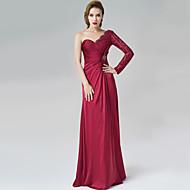 Formal Evening Dress - Burgundy A-line One Shoulder Floor-length Satin