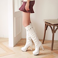 Women's Shoes Chunky Heel Fashion Boots/Round Toe Boots Dress/Casual Black/White