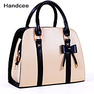 Handcee® Woman Casual PU Zip Tote Bag Most Popular Bowknot Handbag PU Shoulder Bag