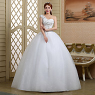 Ball Gown Wedding Dress - White Floor-length One Shoulder Lace/Tulle