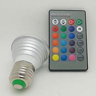 3W E26/E27 תאורת ספוט לד 1 לד בכוח גבוה 130 lm RGB עובד עם שלט רחוק AC 85-265 V חלק 1