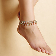 Fashion Women Beach Yoga Dance Drops Alloy Tassels Double Chain Anklets Christmas Gifts
