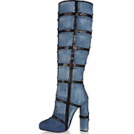 Women's Shoes Leatherette Stiletto Heel Fashion Boots Boots Office & Career / Party & Evening / Dress Blue