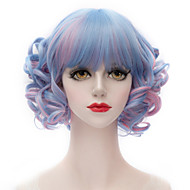 Popular Synthetic Mix Blue And Pink Short Kinky Curly Flat Bang Harajuku Lolita Purecas Lady/Girls Fashion Party Wig