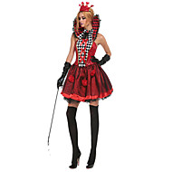 Extravagant Polyester The queen of poker Halloween Costumes Female Queen of Heart Cosplay (dress+headwear+tie+gloves)