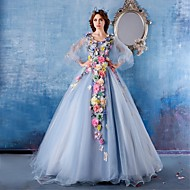 Formal Evening Dress Ball Gown V-neck Chapel Train Satin / Tulle with Flower(s)