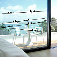 Window Stickers Window Decals Style Bird on The Wire PVC Window stickers