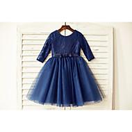 A-line Knee-length Flower Girl Dress - Lace / Tulle 3/4 Length Sleeve