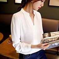Vrouwen Eenvoudig Herfst Overhemd,Casual/Dagelijks Effen V-hals Lange mouw Wit Medium