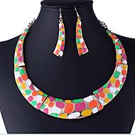 MPL European and American fashion luxury gem diamond fringe Necklace Earrings Set