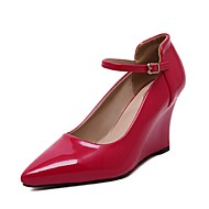 Women's Spring Fall Patent Leather Office & Career Casual Wedge Heel Buckle Split Joint Black Red Silver Gold