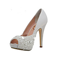 Women's Spring / Summer / Fall Heels / Peep Toe / Platform Satin Wedding / Dress / Party & Evening Stiletto Heel Crystal / Beading White