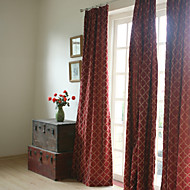 Two Panels Embroidery Panel Burgundy Bedroom Curtains Drapes