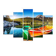 VISUAL STAR®Boat On Sea Natural Scenery Canvas Set of 5 High Quality Canvas Printing Ready to Hang