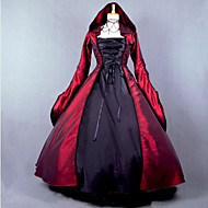 Steampunk®Red and Black Gothic Victorian Dress Hooded Dress Long Halloween Costume