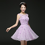 Cocktail Party Dress - Ruby / Lilac A-line Scoop Short/Mini Lace