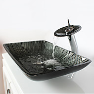 blackwhite rectangular tempered glass vessel sink with waterfall faucet pop up drain and