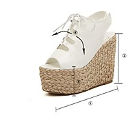 Women's Shoes Leather Wedge Heel Wedges Sandals Casual Black / White
