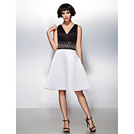 TS Couture® Cocktail Party / Company Party Dress - Beautiful Back A-line V-neck Knee-length Satin with Beading