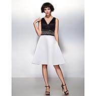 ts couture® cocktailparty / firmafest klänning - vacker tillbaka-line V-ringad knälång satin med beading