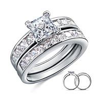 טבעות לזוג כסף סטרלינג זירקוניה מעוקבת עור Square Shape אלגנטי תכשיטים חתונה Party יומי קזו'אל 2pcs