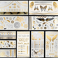 10ks zdobení těla dočasné mt fantasy sní zlatá stříbrná metalíza blesk tetování nálepka šperky nepromokavé květiny