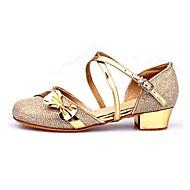 Non Customizable Women's/Kids' Dance Shoes Latin Paillette Flat Heel Purple/Red/Silver/Gold