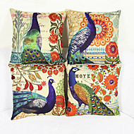 Set of 4 Peacock Pillowcase Sofa Home Decor Cushion Cover(17*17inch)