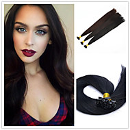 "18""-28""Indian Virgin Human Hair Flat Tip Hair Extension Straight 1g/strand 50g/pack Pre-Bonded Hair Extension"