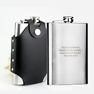 Gift Groomsman Personalized Stainless Steel 10-oz Flask with Leather Holder