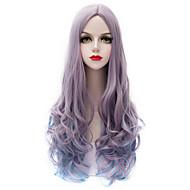 流行グレーグラデーションブルーロングカール波状U部分の毛の原宿p ロリータファッションのパーティーの女性の女の子合成かつら