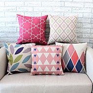 5PCS Geometric Patterns Pillowcase Sofa Home Decor Cushion Cover (17.7*17.7 inch)