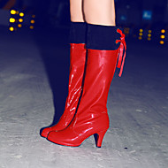 Women's Shoes Leatherette Stiletto Heel Heels / Round Toe Boots Outdoor / Office & Career / Casual Black / Red / White