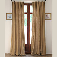 Two Panels Linen Cotton Solid Panel Bedroom Curtains Drapes Antiqued Yellow